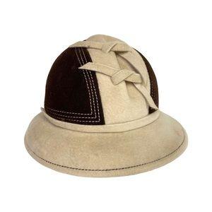 Vintage 60s Ying Yang Cloche Hat Wool Cream Brown